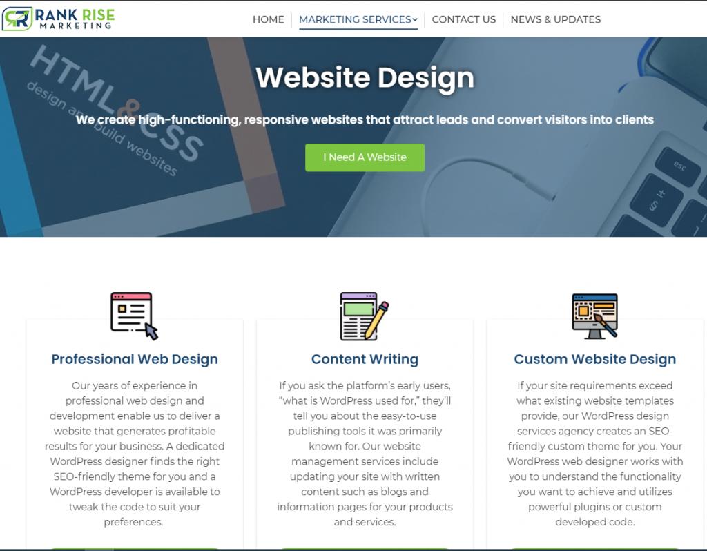Rank Rise Website Design