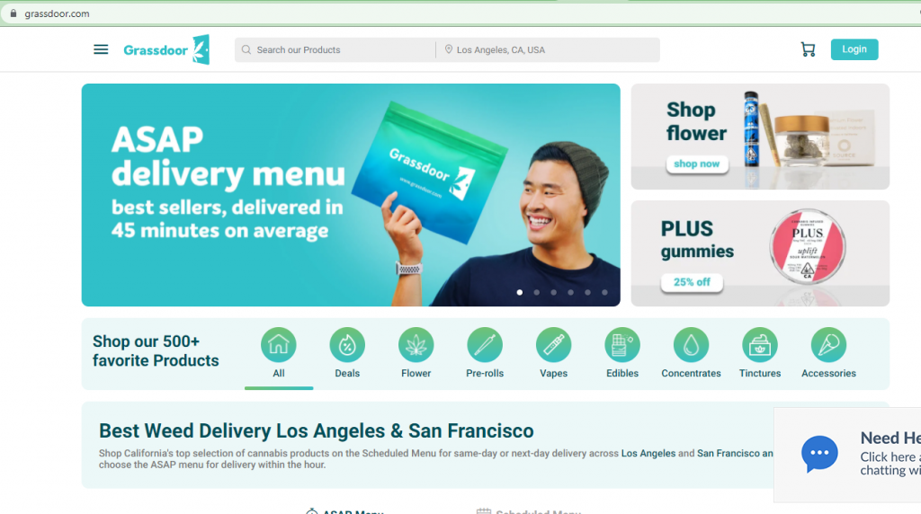 cannabis delivery website example