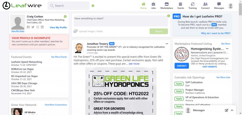 screenshot of leafwire social network