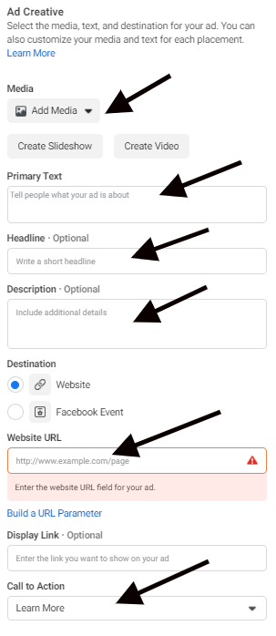 infographic on how to set up a facebook ad