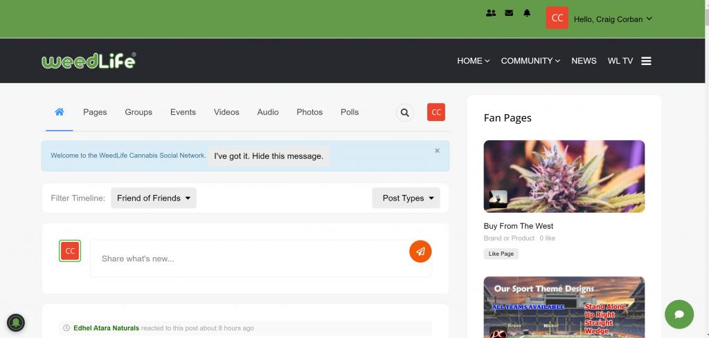 online screenshot of weedlife social network interface